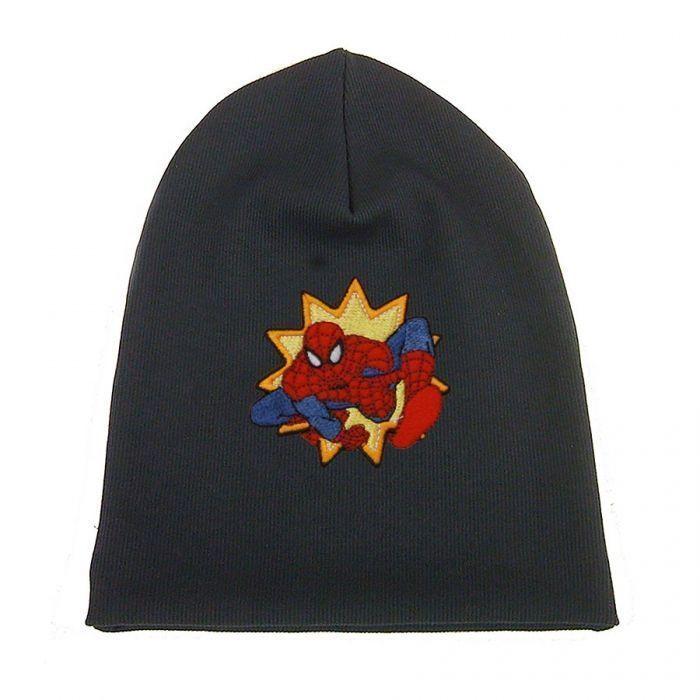 Cuffia berretto nero per bimbo con applicazione uomo ragno