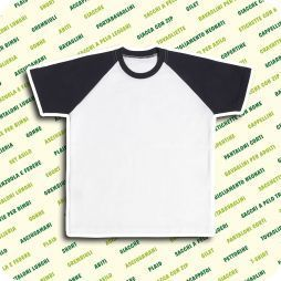 t-shirt in jersey raglan manica corta con collo e maniche colorate