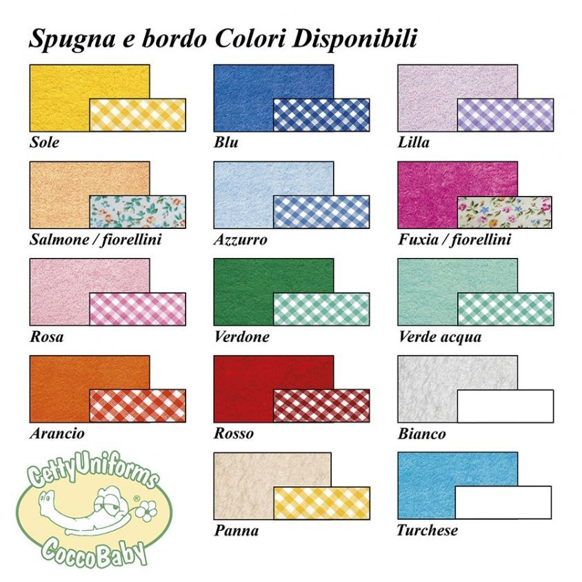 colori e bordo disponibili per bavaglino adulti